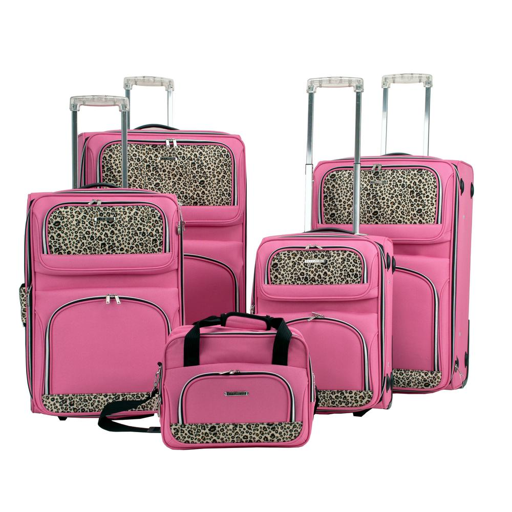 Rockland 5-Piece Luggage Set, Pink