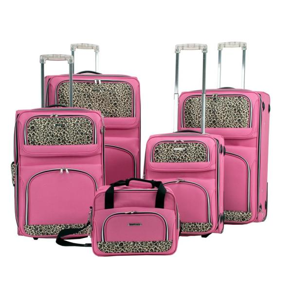 Rockland Deluxe Expandable Softside 5-Piece Spinner Luggage Set, Pink