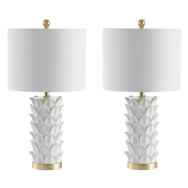 Set of 2 Safavieh Nico Table Lamp in White and Gold