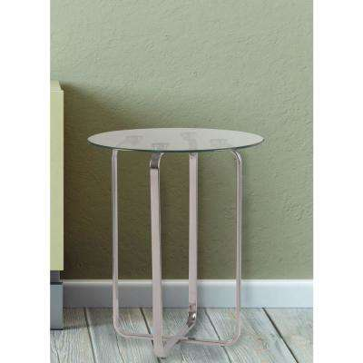 Arpeggio Stainless Steel Glass Top End Table