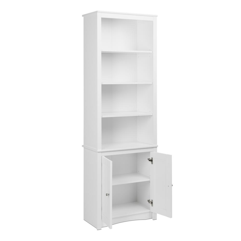 White Wood 6 Shelf Standard Bookcase