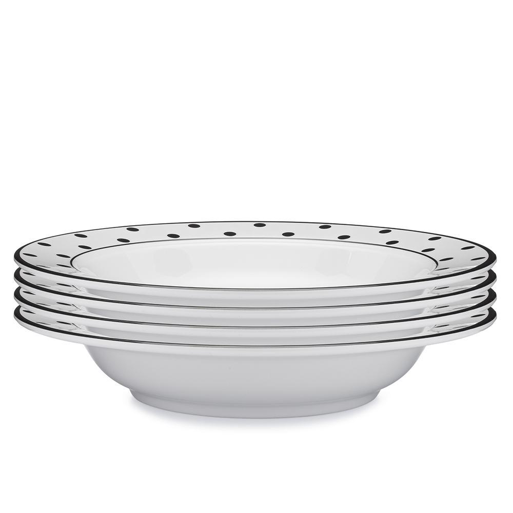 Q Squared Moonbeam 4-Piece Black Melamine 10.5 in. Dots Pasta Bowl