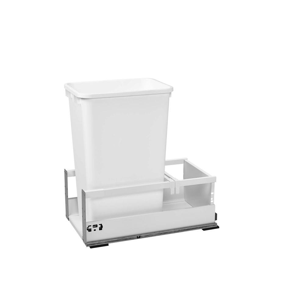 Single 50 Qt. White Pull-Out Wood Bottom Mount Waste Container with