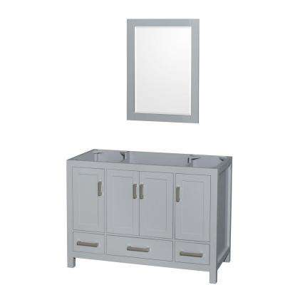 Sheffield 48 in. Vanity Cabinet with Mirror in Gray