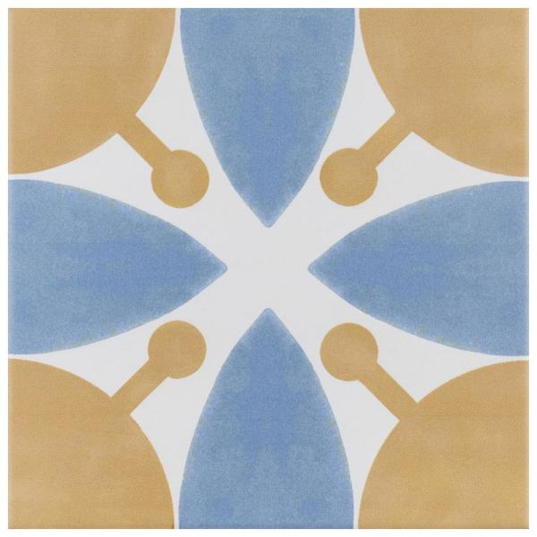 Revival Leaf Encaustic 7-3/4 in. x 7-3/4 in. Ceramic Floor and Wall Tile