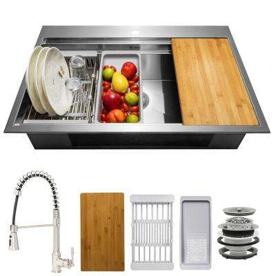 Handmade All-in-One Topmount Stainless Steel 33 in. x 22 in. Single Bowl Kitchen Sink w/ Spring Neck Faucet, Accessory