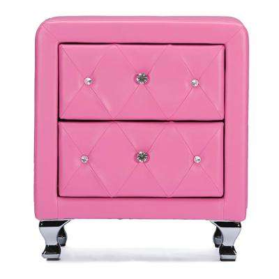 Stella Pink Faux Leather Upholstered Nighstand