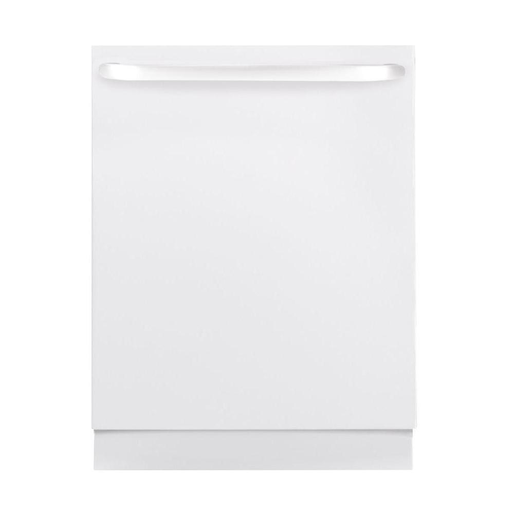 Ge top control dishwasher in white with stainless steel tub gldt690jww the home depot for White dishwasher with stainless steel interior
