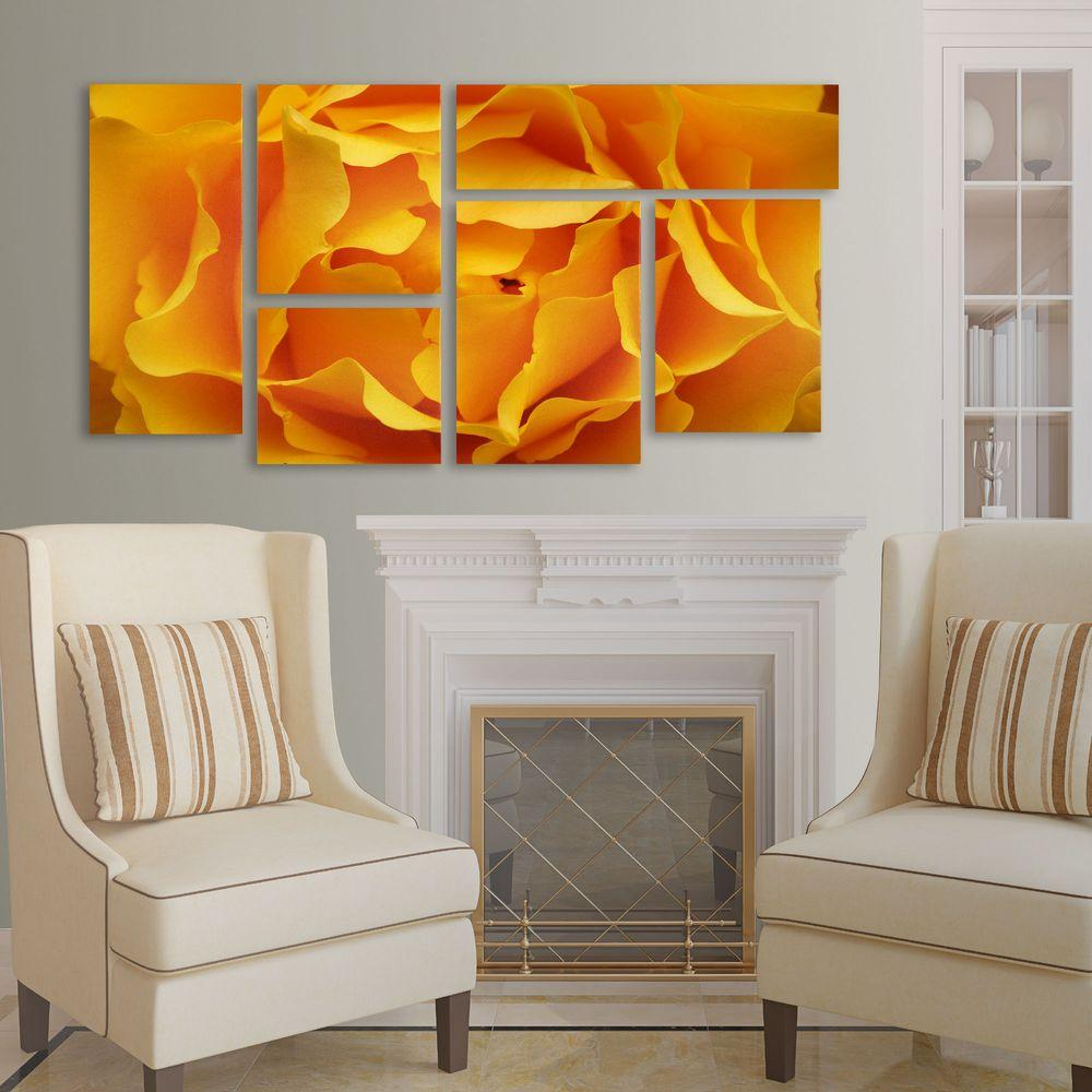 Trademark Fine Art Hypnotic Yellow Rose by Kurt Shaffer 6-Panel Art Set