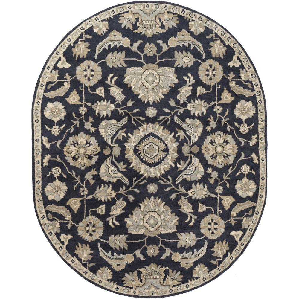 Hanzei Navy 8 ft. x 10 ft. Oval Indoor Area Rug