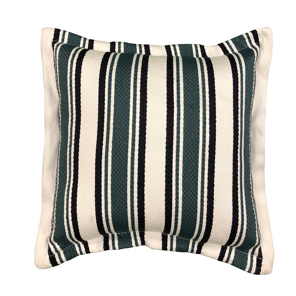 Hampton Bay Charleston Stripe Square Outdoor Throw Pillow