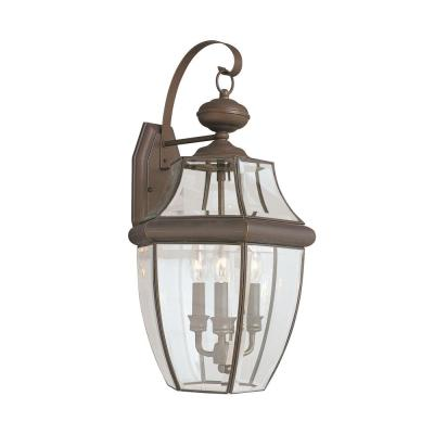 Lancaster 3-Light Antique Bronze Outdoor 23 in. Wall Lantern Sconce with Dimmable Candelabra LED Bulb