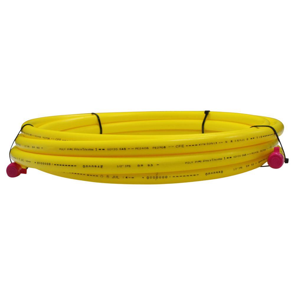 Underground 1/2 in. x 25 ft. IPS Yellow Polyethylene Gas Pipe