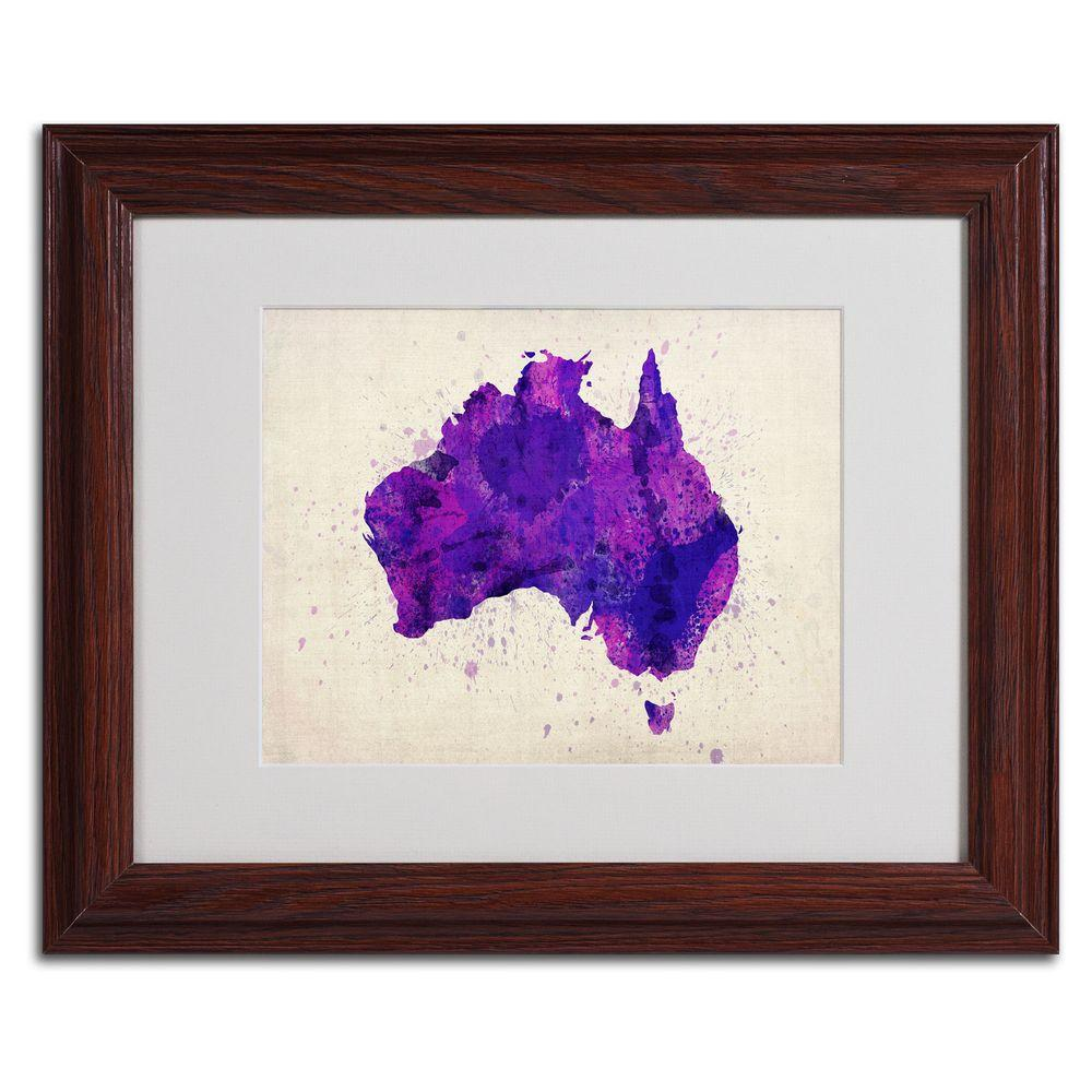 Trademark Fine Art 11 in. x 14 in. Australia Paint Splashes Map Matted Framed Art