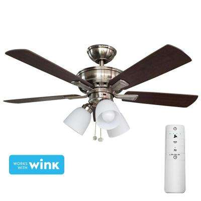 Vaurgas 44 in. LED Brushed Nickel Smart Ceiling Fan with Light Kit and WINK Remote Control