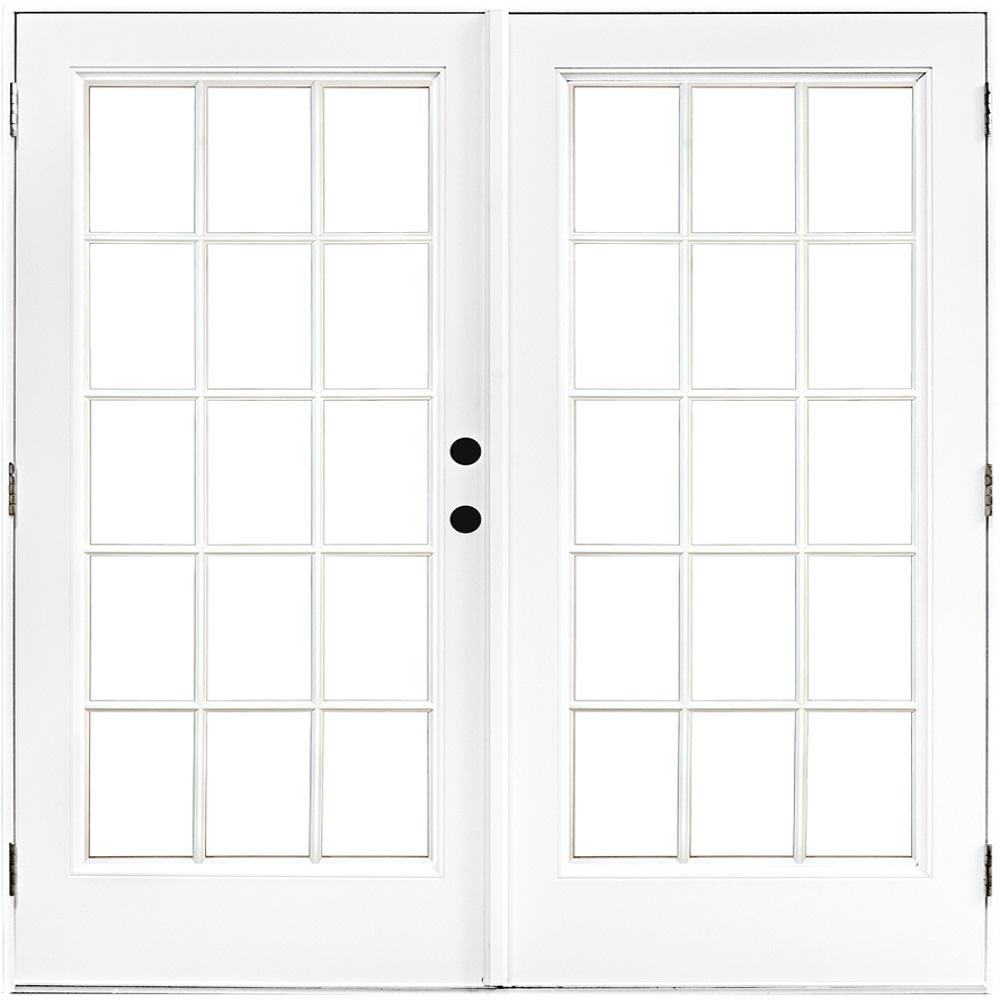 72 in. x 80 in. Fiberglass Smooth White Left-Hand Outswing Hinged