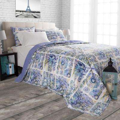 Melody Blue Polyester King Quilt