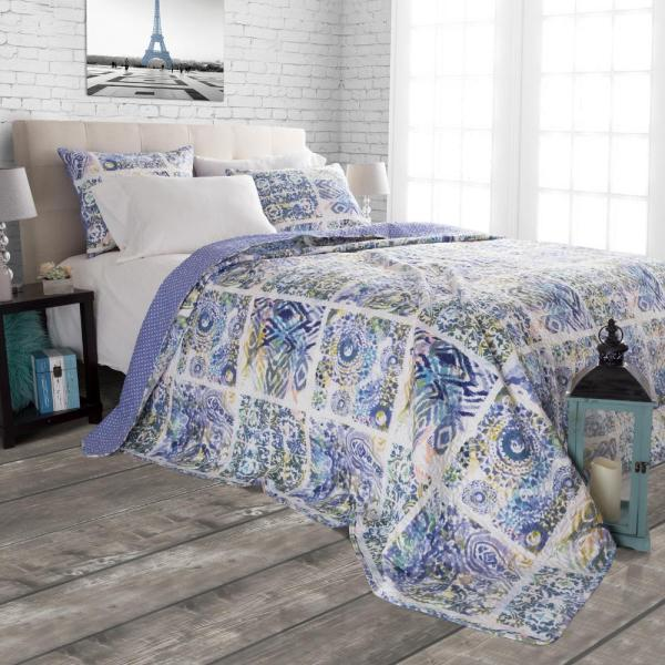 Lavish Home Melody Blue Polyester Twin Quilt 66-10061-T