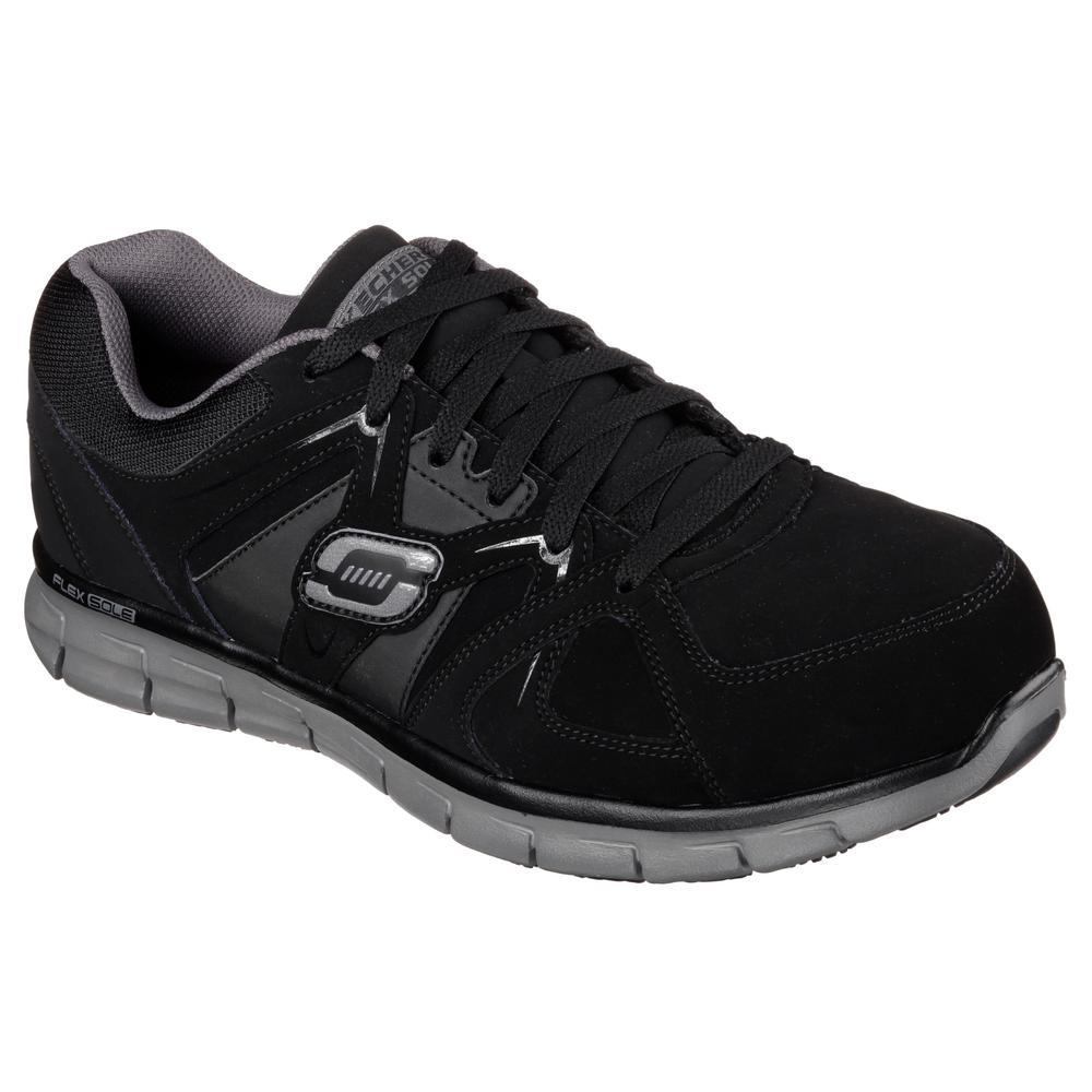 Skechers Synergy - Ekron Men Size 9W Black Fabric Work Shoe