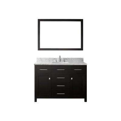 Caroline 48 in. W x 36 in. H Vanity with Marble Vanity Top in Carrara White with White Round Basin and Mirror