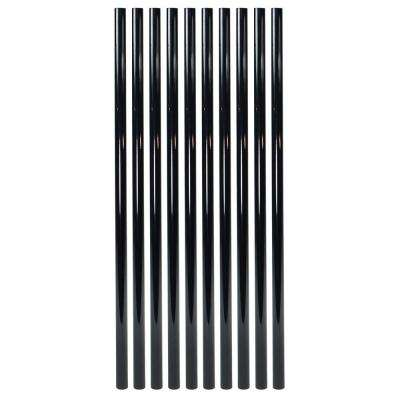 26 in. x 3/4 in. Gloss Black Steel Round Deck Railing Baluster (10-Pack)