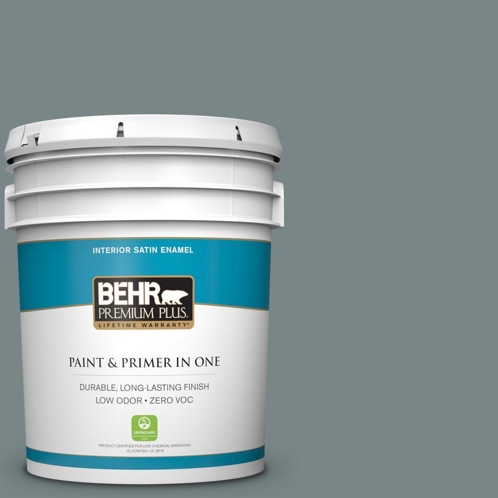 BEHR Premium Plus 5-gal. #730F-5 Nature Retreat Zero VOC Satin Enamel Interior Paint