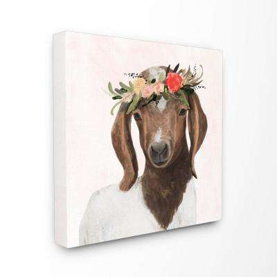 """30 in. x 30 in. """"Springtime Flower Crown Long Ear Baby Goat""""by Artist Victoria Borges Canvas Wall Art"""