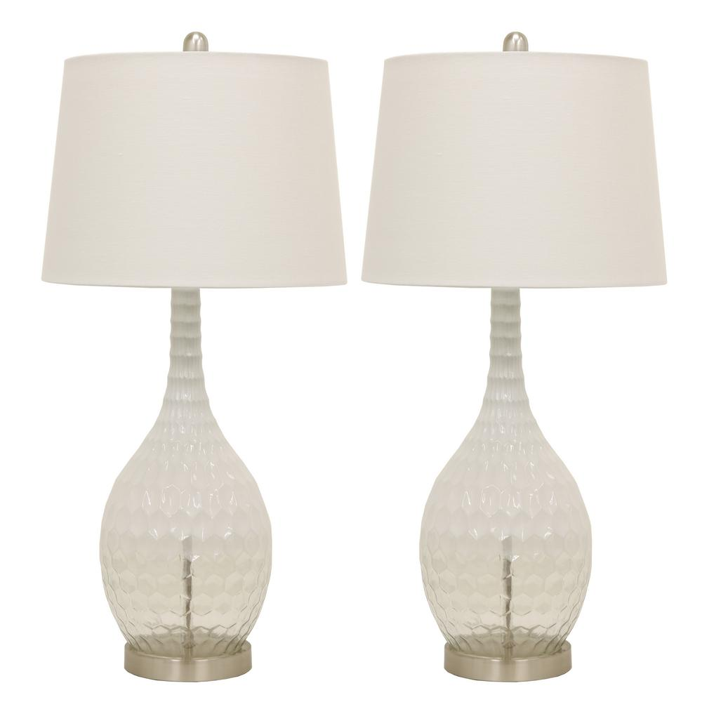 Frosted Glass Genie 29.5 in. Clear Table Lamps with Shade (Set