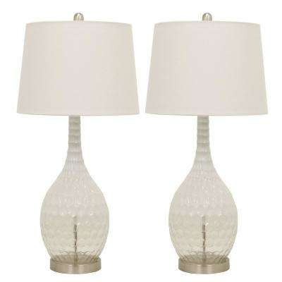 Frosted Glass Genie 29.5 in. Clear Table Lamps with Shade (Set of 2)