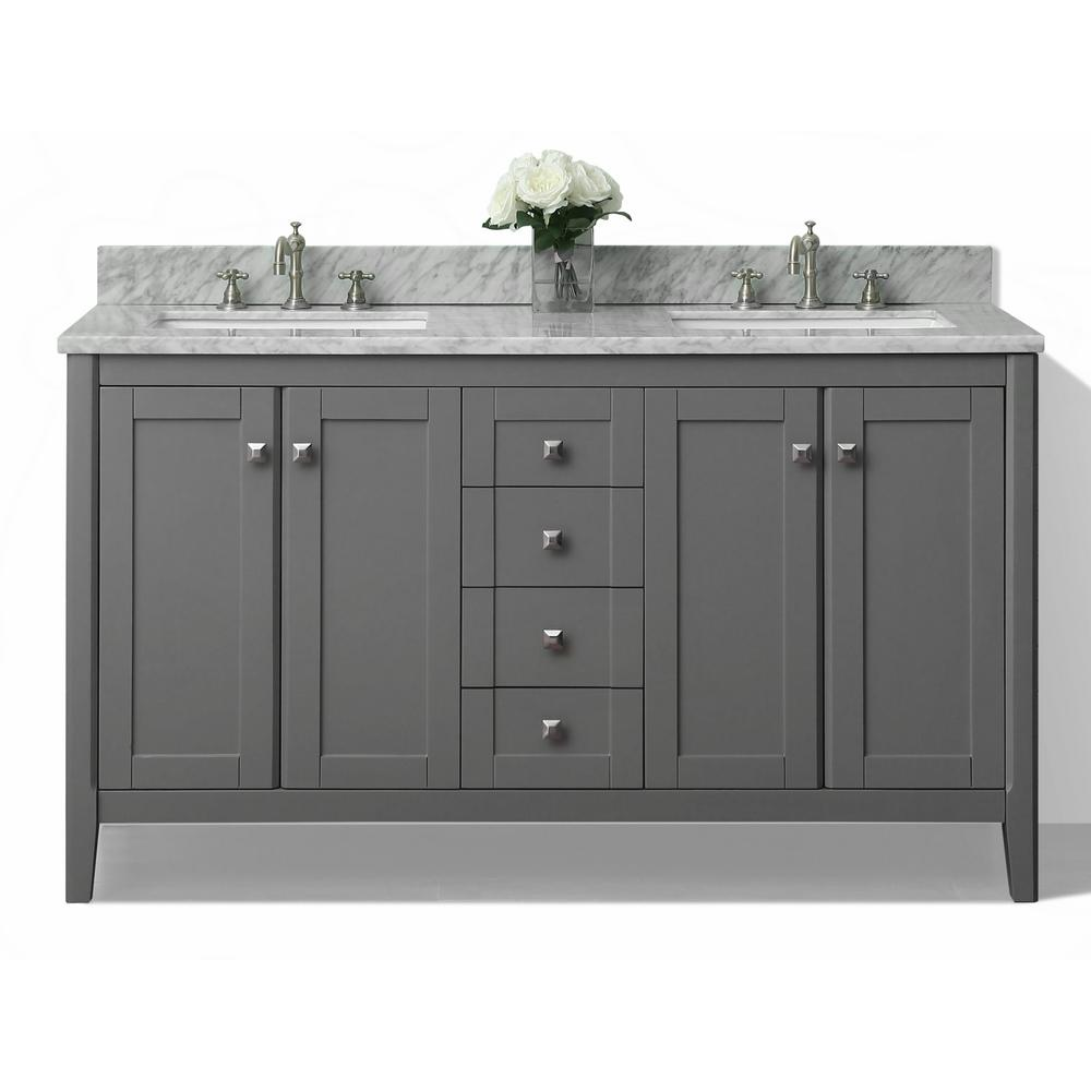 Ancerre Designs Vanity Sapphire Gray Marble Vanity Top White Basins