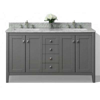 Shelton 60 in. W x 22 in. D Vanity in Sapphire Gray with Marble Vanity Top in Carrera White with White Basins