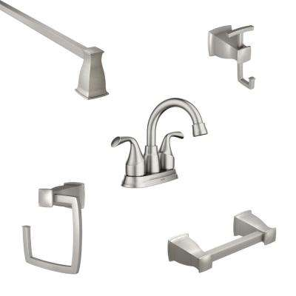 Idora 4 in. Centerset 2-Handle Bathroom Faucet with 4-Piece Bath Hardware Set in Brushed Nickel