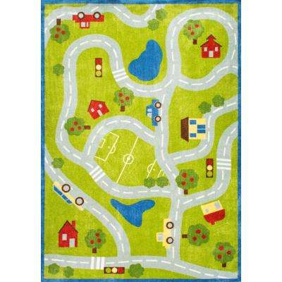 Alton Kids Road Trip Green 4 ft. x 6 ft. Area Rug