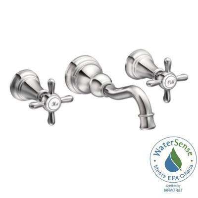 Weymouth 2-Handle Wall Mount High-Arc Bathroom Faucet in Chrome (Valve Sold Separately)