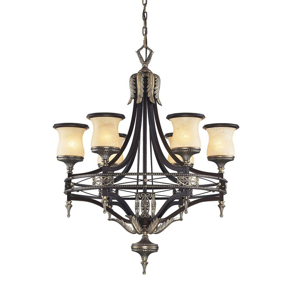 sale retailer a5ccb f76f0 Titan Lighting Georgian Court 6-Light Antique Bronze Ceiling Mount  Chandelier