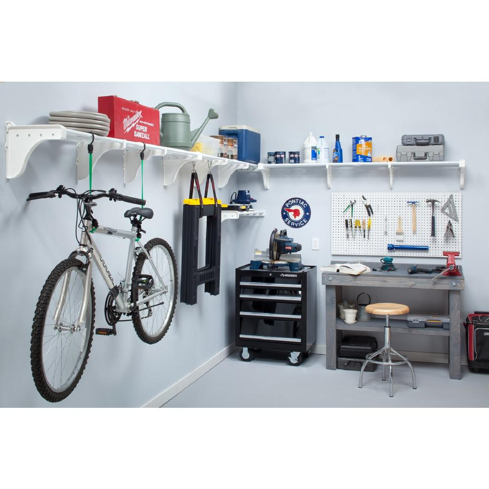 40 in. - 75 in. Metal 3-Expandable Garage Shelf in White