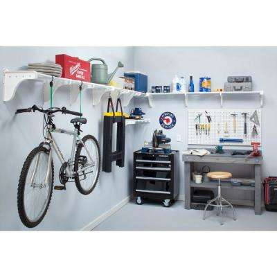 40 in. - 75 in. Metal 4-Expandable Large Garage Shelf in White (Set of 4)
