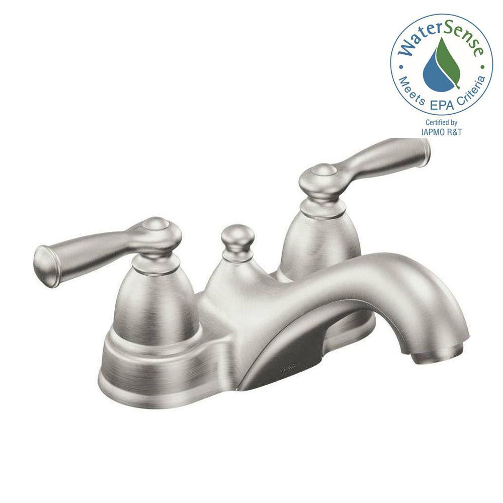 Moen Banbury 4 In Centerset 2 Handle Low Arc Bathroom Faucet In Spot Resist Brushed Nickel Ws84912srn The Home Depot