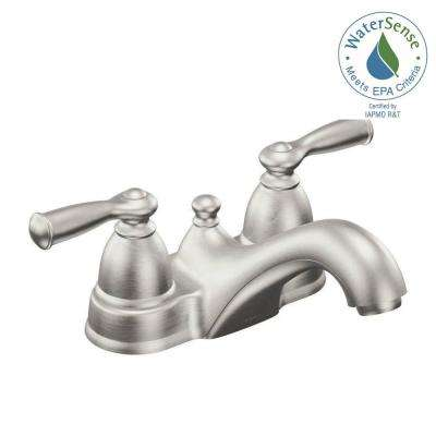 Banbury 4 in. Centerset 2-Handle Low-Arc Bathroom Faucet in Spot Resist Brushed Nickel