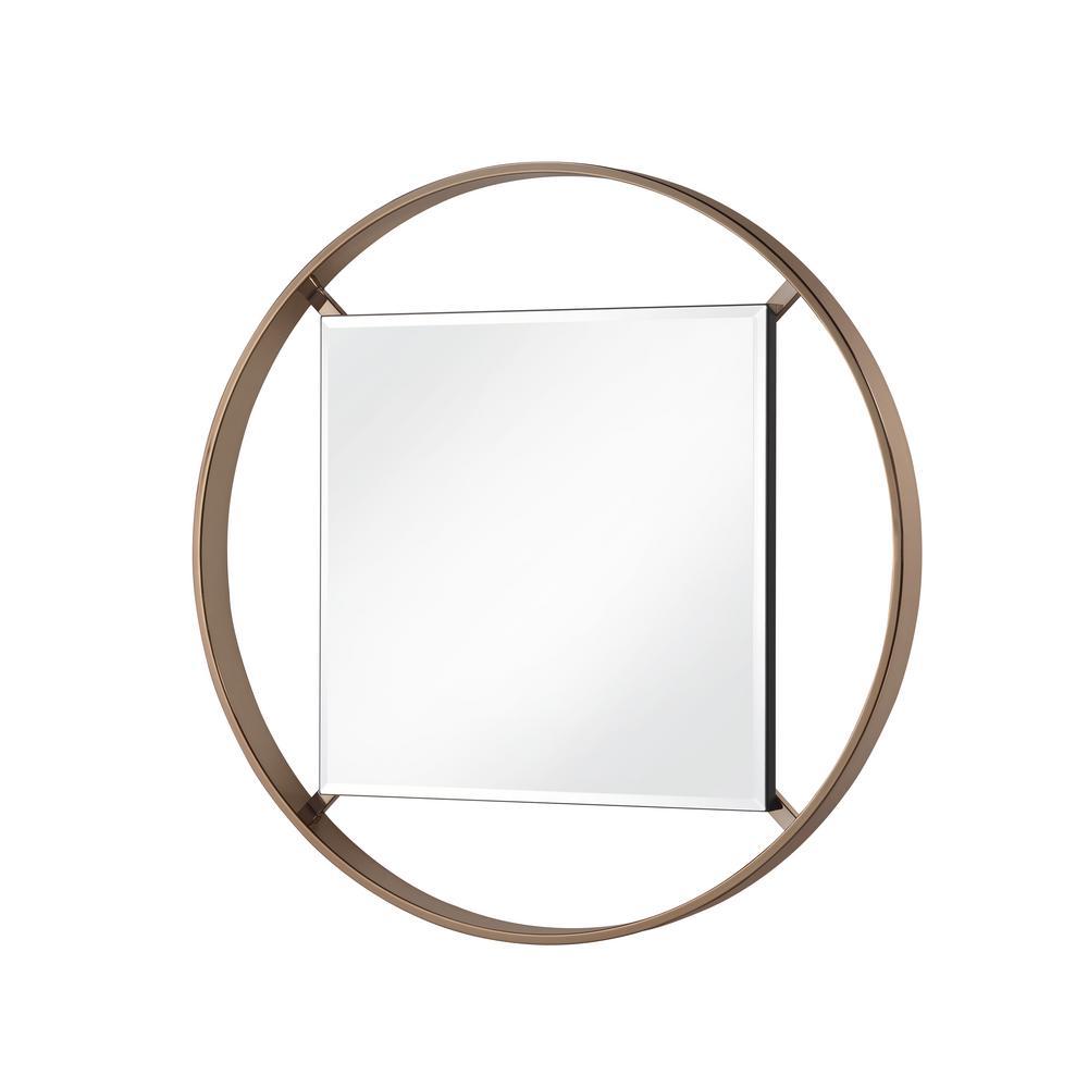 Baie 33 in. Round Metal Framed Wall Mirror