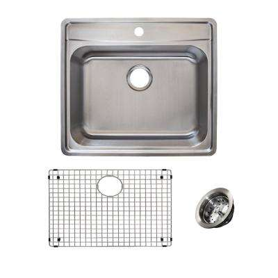 Evolution All-in-One 1 Drop-in Stainless Steel 25 in. 1-Hole Single Bowl Kitchen Sink Kit in Satin