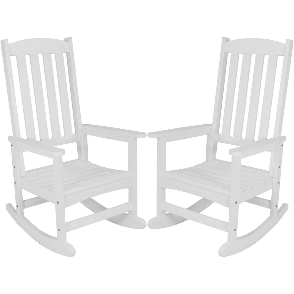 Sunnydaze Decor White All Weather Traditional Plastic Patio Rocking Chairs 2 Set