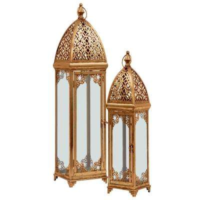 Gold Candle Metal Decorative Lantern