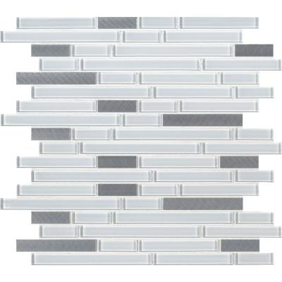 Lucid Sky Interlocking 11.81 in. x 12 in. x 4mm Glass Metal Mesh-Mounted Mosaic Tile (19.6 sq. ft. / case)