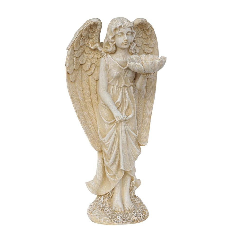 20 in. Heavenly Gardens Distressed Ivory Cherub Angel Bird Feeder
