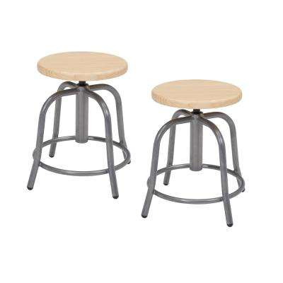 18 in. to 25 in. Height Wooden Seat and Grey Frame Adjustable Swivel Stool (2-Pack)