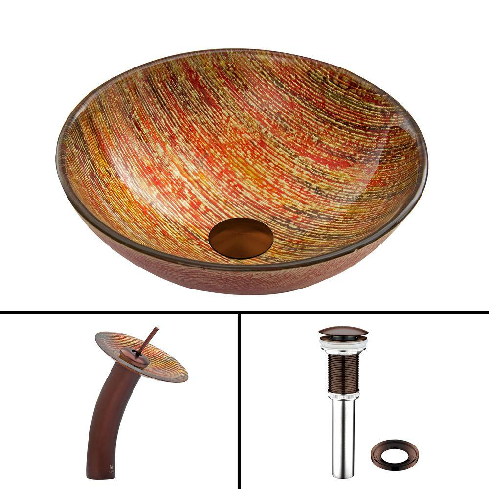 VIGO Glass Vessel Sink in Blazing Fire and Waterfall Faucet Set in Oil Rubbed Bronze
