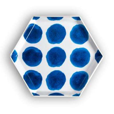 Azure Blue Dots Hexagon Tray