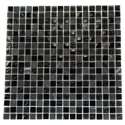 Metropolis Black Blend 12 in. x 12 in. x 8 mm Marble and Glass Mosaic Floor and Wall Tile