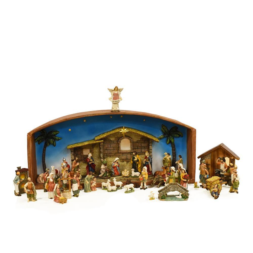 52 piece religious christmas nativity village set with holy family